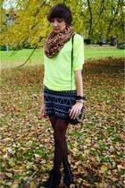 light yellow reserved sweater - black c&a skirt