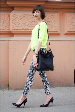 black  bag - white H&M pants - yellow reserved blouse - black  heels