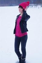 black house jacket - hot pink adidas accessories - black Stradivarius pants