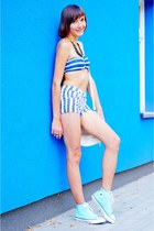 blue Bershka top - white SH bag - sky blue Parisian shorts