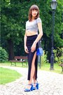 Blue-bershka-bag-blue-zara-sandals-gray-h-m-divided-top-black-skirt