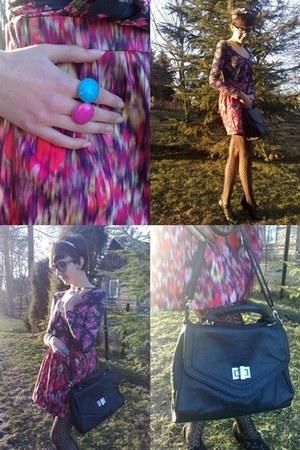 black marilyn tights - reserved bag - floral print blouse - black glasses