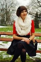 white c&a scarf - black H&M skirt