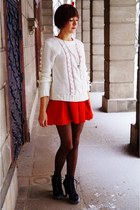 white Atmosphere  SH sweater - black  boots - red Zara dress