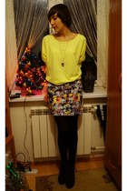 yellow reserved sweater - hot pink Bershka dress