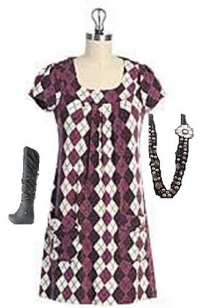purple hazel dress - black American Eagle boots - pink necklace