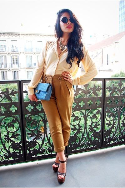 sky blue Chanel bag - American Apparel sunglasses - dark brown Chanel heels
