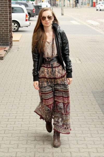 crimson skirt - black jacket - tan top