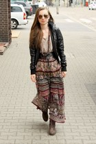 crimson skirt - black jacket - tan top