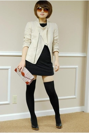 Oh Deer shoes - black dress - Zara jacket