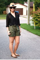black H&M blouse - green joe fresh style shorts - black - hat