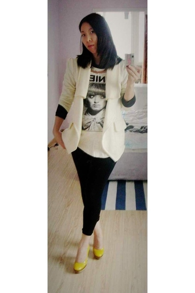 Topshop blazer - Topshop leggings - Marni shoes