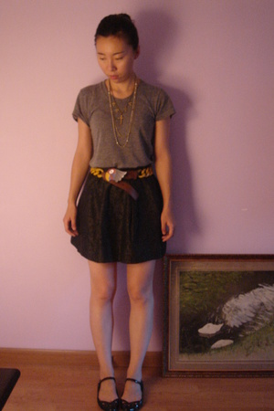 aa t-shirt - UO skirt - Prada belt - MiuMiu shoes