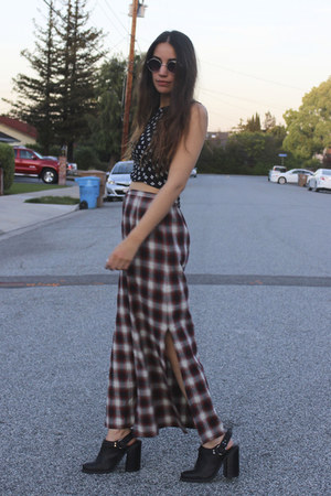 vintage skirt - Urban Outfitters boots - vintage top