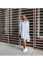 periwinkle dress Neta Efrati dress - tan jacket Neta Efrati jacket