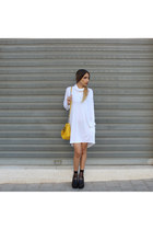 white turtleneck Neta Efrati dress - black platform COS wedges