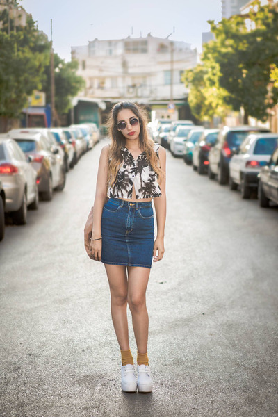 denim American Apparel skirt - black and white Yarins Boutique top