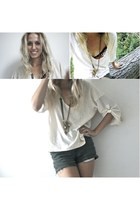 green Ralph Lauren shorts - ivory Anthropologie top