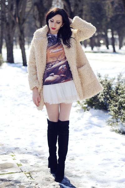 style moi coat - Chicwish skirt - MrGugu&Miss Go sweatshirt