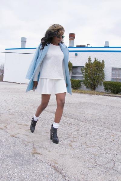 H&M sweater - Zara boots - Sheinside coat - H&M skirt