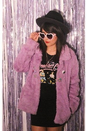 Forever 21 hat - furby fur coat - shirt