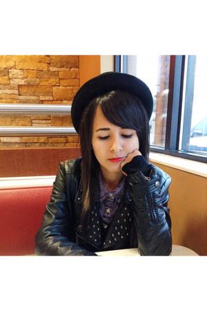 leather Forever 21 jacket - Forever 21 hat - vintage blouse