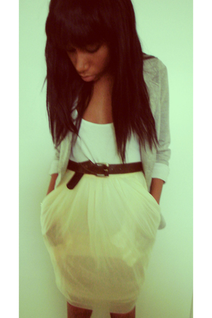 yellow skirt - gray blazer - brown belt - white top