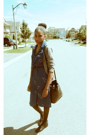 gray H&amp;M cardigan - blue vintage dress - black thrifted bag