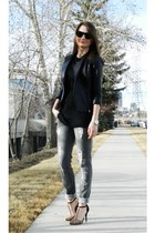 Zara heels - Zara jeans - Bebe jacket - Alexander Wang sweater