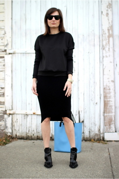 black H&M Trend skirt - black Zara boots - sky blue Givenchy bag