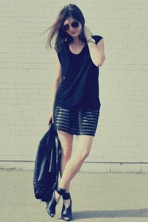 Forever 21 skirt - Bebe jacket - Camilla Skovgaard wedges