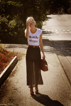 dark brown Michael Kors wedges - black skirt - white H&M t-shirt