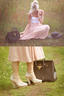 Light-pink-gina-tricot-skirt-dark-brown-hermes-bag-h-m-top
