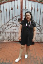 black lbd Local store dress - white shoes Local store sneakers