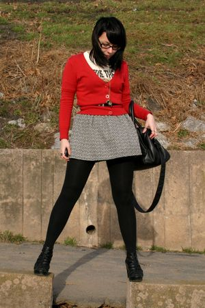 red cardigan - gray skirt - black purse - black shoes - beige shirt - gold camer