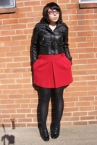 Wet Seal jacket - Express skirt - Wet Seal leggings - Bongo shoes