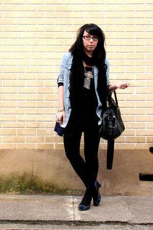 blue shirt - black American Apparel dress - blue Wet Seal cardigan - silver Fore