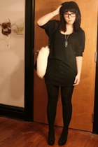 black Lush dress - black Converse for Target bag - ivory Foxtail accessories - t