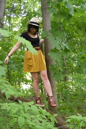 American Apparel skirt - ENR shirt - forever 21 shoes - forever 21 hat - unknown