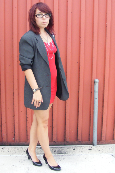 American Apparel dress - thrifted blazer - vintage necklace - Mossimo shoes