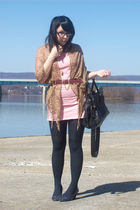pink Wet Seal dress - black H&M purse - blue payless shoes - gold Wet Seal scarf
