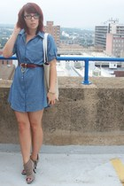 forever 21 dress - vintage belt - Wet Seal boots - Daisy by Marc Jacobs purse
