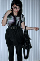 black Forever 21 shirt - black American Apparel skirt - gold vintage belt - blac