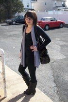 American Apparel dress - Wet Seal vest - Express leggings - Wet Seal boots - Cla