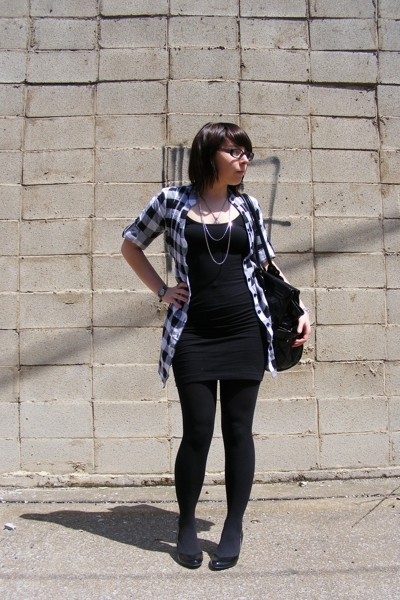 Wet Seal shirt - American Apparel dress - Target shoes - Atomic Warehouse neckla