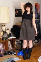 Blue Asphalt dress - Wet Seal scarf - Wet Seal boots