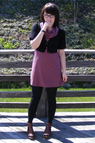 American Apparel dress - Charlotte Rouse sweater - forever 21 shoes