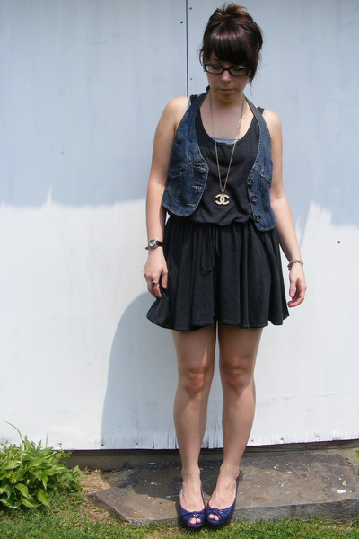 American Apparel dress - Wet Seal vest - payless shoes - Chanel necklace