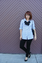 Blue Ashpalt blouse - Hot Topic necklace - urban vibe pants - Mossimo shoes - Ez