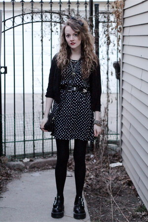 aggy strap Dr Martens boots - polka dots sugarhill boutique dress